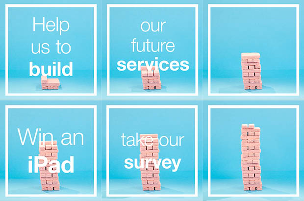 A series of video stills of pink wafer biscuits being stacked into a tower with the message 'help us to build our future services, win an iPad, take our survey'.