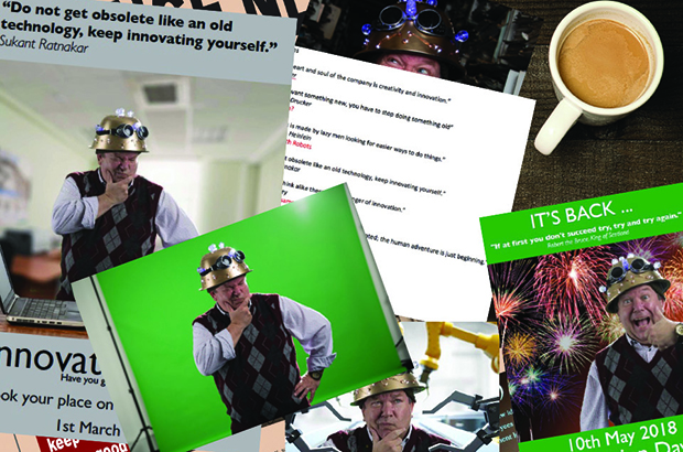 A collage of photos of Gareth in his 'thinking cap' and the posters he made for innovation day.