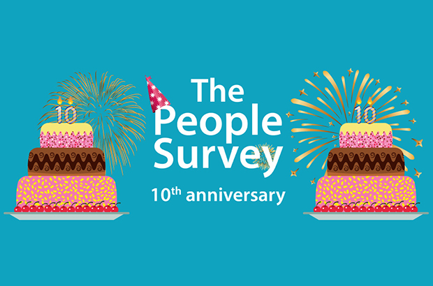 An illustration of cakes and fireworks with the message ' The People Survey 10th anniversary'