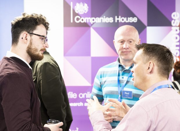 Companies House colleagues giving advice to attendees at our digital open day.  Smarter ways of working Alistair 620x450