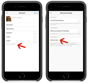 Screens showing how to add alt text to images in Instagram.