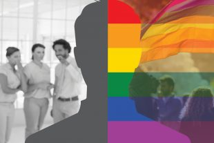 A silhouette of a man with one half against the rainbow colours and the other half against a group of people gossiping.