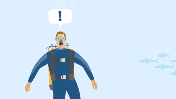 An illustration of a scuba diver with a speech bubble with an exclamation mark in it.