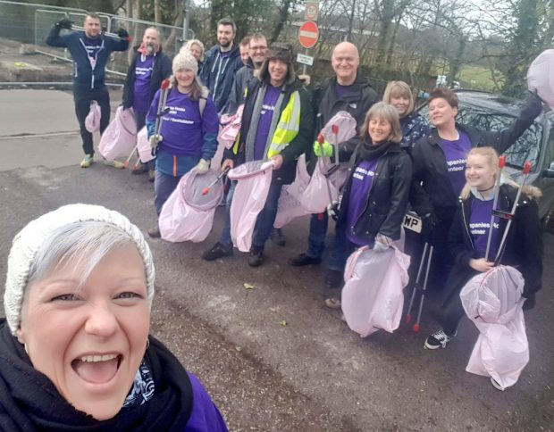 Companies House colleagues litter picking.