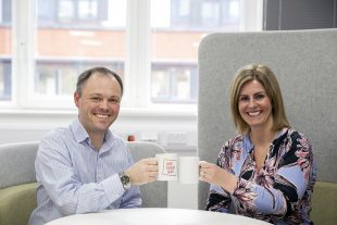 Toby and Rachel from Companies House having curious coffee.