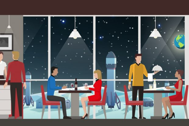 A graphic depicting a restaurant on the moon.