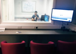 Testing in our user experience lab.