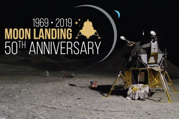A lander on the moon with a title 1969 to 2019 Moon Landing 50th anniversary.