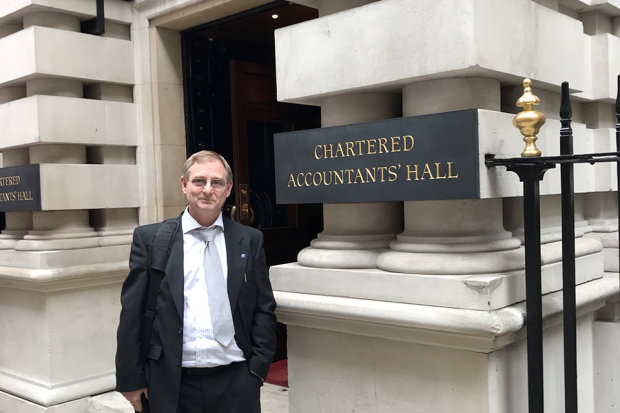 Carl Allen from Companies House standing outside the ICAEW headquarters.
