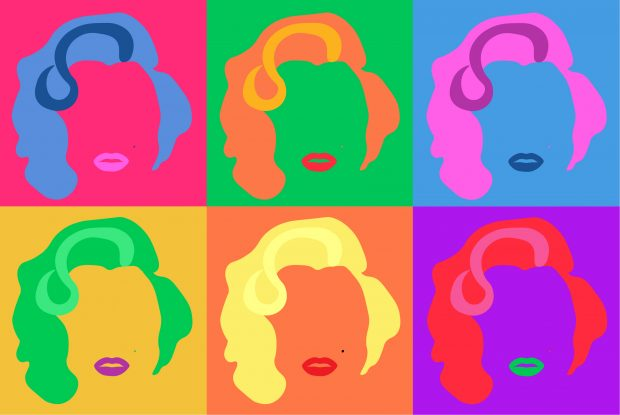 A pop art style collage of Marilyn Monroe in the style of Andy Warhol.