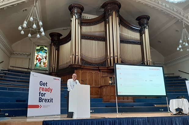 Nick Chism speaking at the Brexit roadshow in Nottingham.