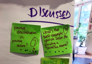 Post-it notes with discussion topics at our One Team Gov breakfast.
