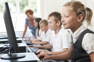 Schoolchildren in a computer class.