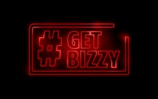 #GetBizzy logo in glowing red font in the style of the Stranger Things title.