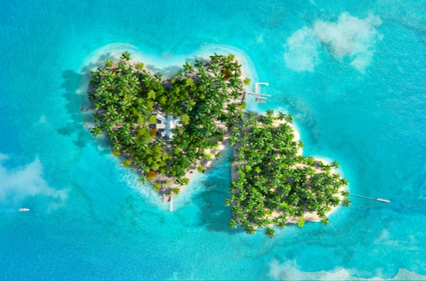 Tropical islands in the shape of two hearts