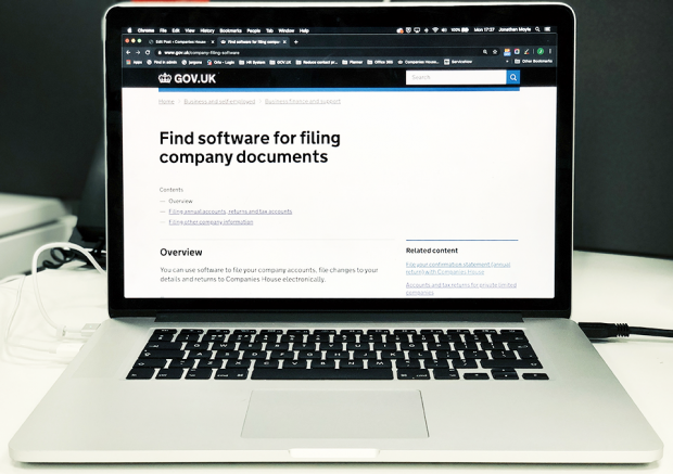 A laptop on the GOV.UK screen to find software for filing company documents.