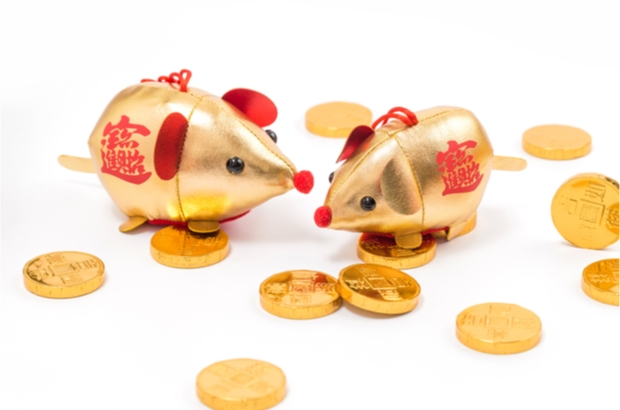 Gold coins around gold rat ornaments