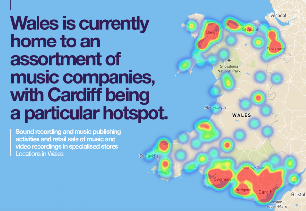 An infographic showing sound recording and music publishing activities in Wales.