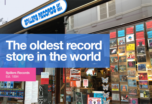An image of the exterior of Spillers Records, with graphics saying 'The oldest record store in the world' and 'Spillers Records Est. 1894'