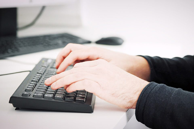 Hands working on a keyboard.  User research panel: help us to help you User research 620x413 1