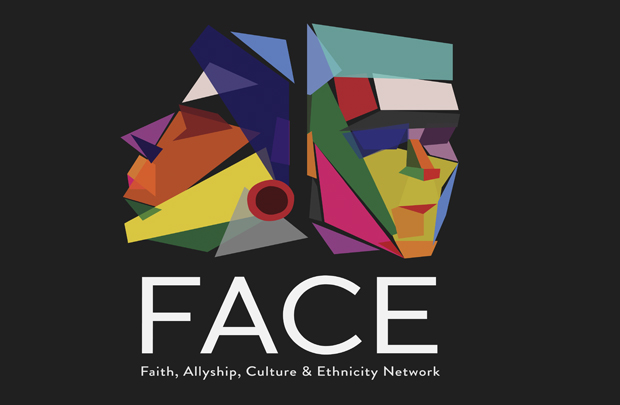 A logo of the FACE network - 2 multi-coloured sculptures of faces with the word FACE and Faith, Allyship, Culture & Ehnicity network