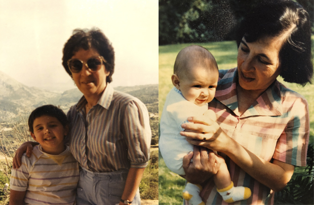 A collage of 2 images - one image shows a lady wearing sunglasses smiling next to a young boy. The other image shows the same lady holding a baby.