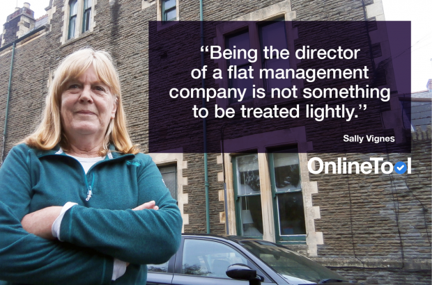 A woman with her arms folded standing outside a block of flats next to the text 'Being the director of a flat management company is not something to be treated lightly.'