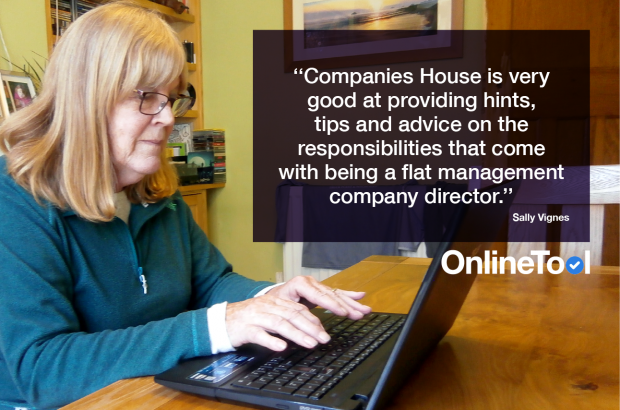 A woman sat down and working on a laptop next to the text 'Companies House is very good at providing hints tips and advice on the responsibilities that come with being a flat management company director.""