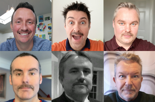 A collage of 6 headshots of males with moustaches.