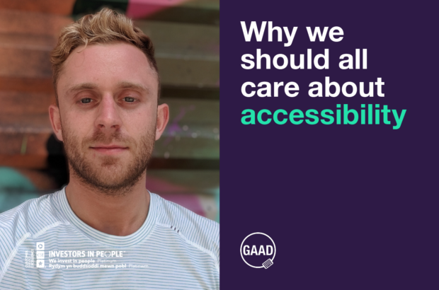 A photograph of Jason Deakin, and the logo of Global Accessibility Awareness Day.